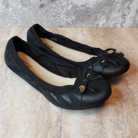 Elise Core Slip on Leather Flats Navy 7.5 M SPERRY Womens